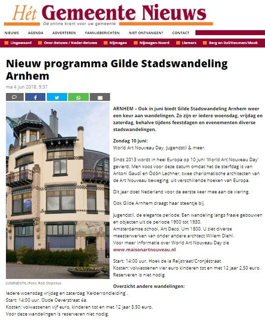 Het Gemeentenieuwe Arnhem Wereld Art Nouveau Dag 2019